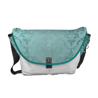 Antique Green Metallic Damask Courier Bags