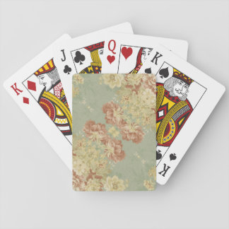 Antique Green Print Poker Deck