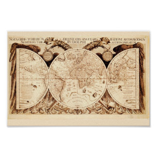 Antique Gryphons Map Poster