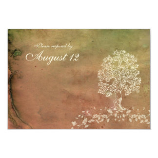 Antique hand-stained tree RSVP with envelopes Card