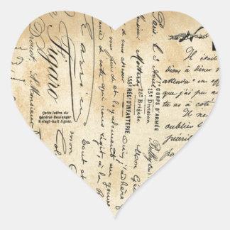 Antique Handwriting Heart Sticker