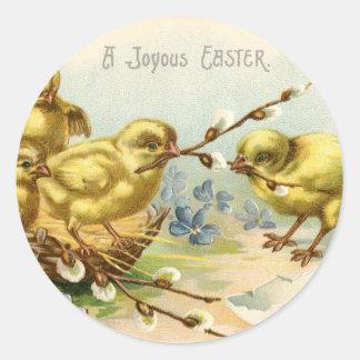 Antique Happy Easter chicks egg hatch Classic Round Sticker