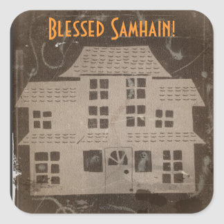 Antique Haunted House Samhain Square Sticker