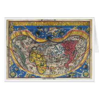 Antique Heart Shaped World Map by Peter Apian 1520 Card