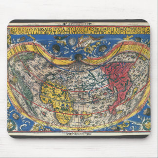 Antique Heart Shaped World Map by Peter Apian 1520 Mouse Pad