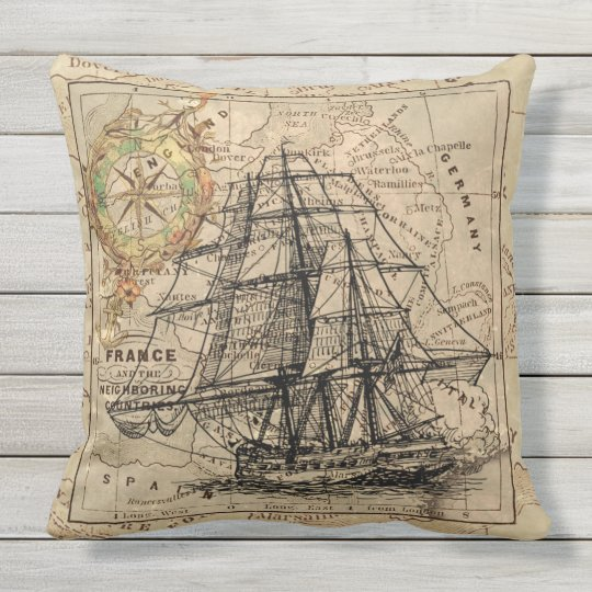 ANTIQUE HIGH SEA ADVENTURE Throw Cushion