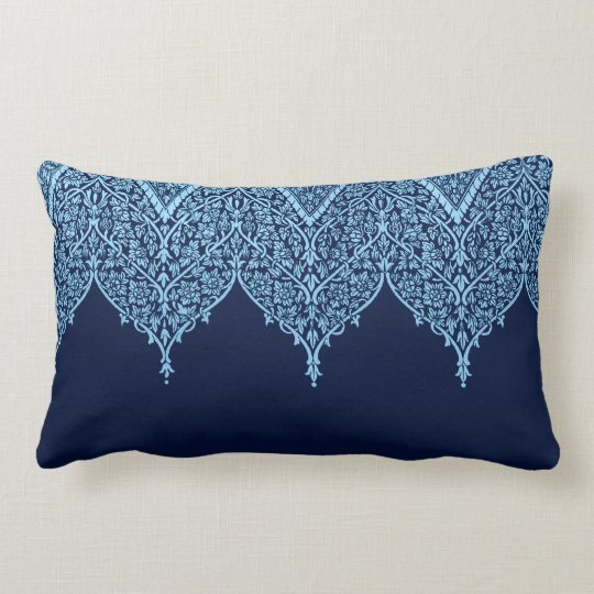 Antique Indian Pattern Blue Floral Vintage Zen Lumbar Pillow
