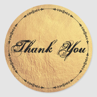 Antique Inspired Gold Textured Thank You Classic Round Sticker