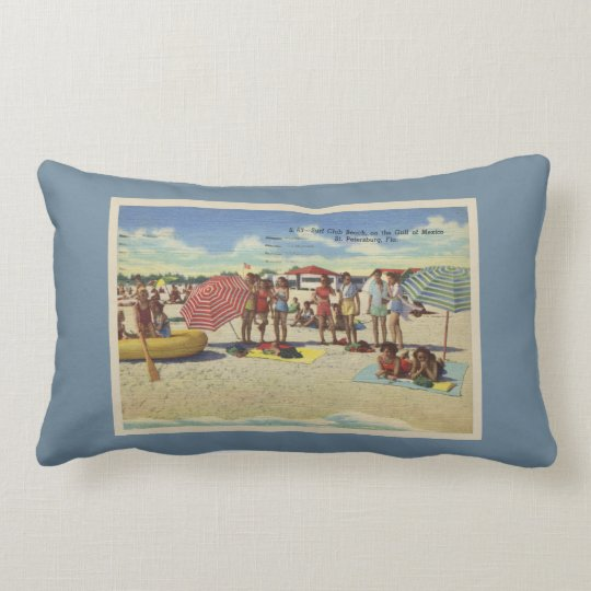 Antique Inspired Saint Petersburg Florida Beach Lumbar Pillow