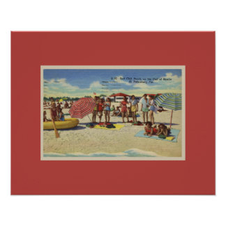 Antique Inspired Saint Petersburg Florida Beach Poster