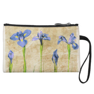 Antique Irises - Vintage Iris Background Customize Wristlet