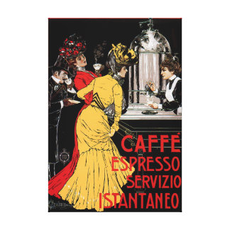 Antique Italian Coffee Bar Espresso Ad Poster Canvas Print