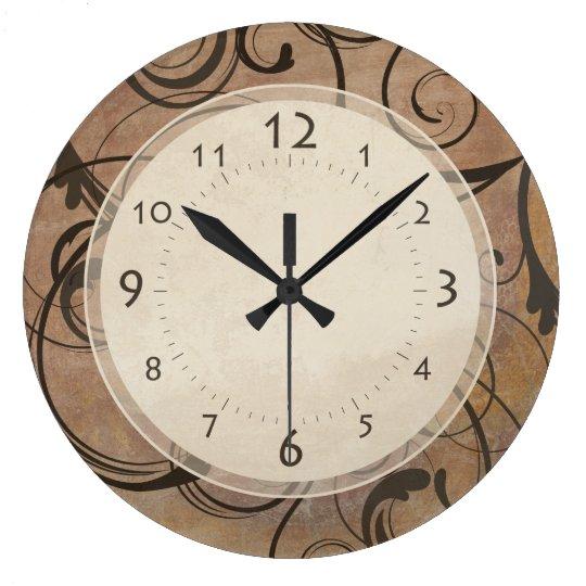 Antique Italian Elegant Swirls Tuscany Brown Wall Clocks