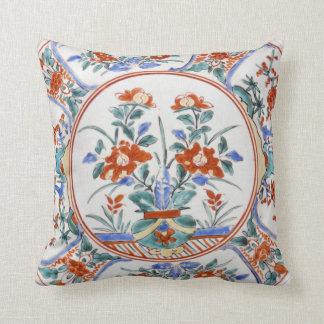 Antique Japan Arita Ware Kakiemon Reproduction Throw Pillow