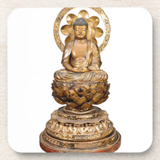 ANTIQUE JAPANESE BUDDHA WOODEN CARVING COASTER