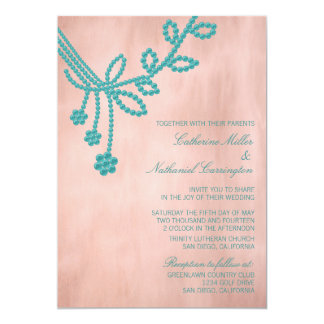 "Antique Jewels Wedding Invitation, Turquoise 5"" X 7"" Invitation Card"