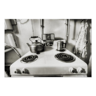 Antique Kitchen Stove and Apron Poster