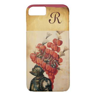 ANTIQUE KNIGHT HELMET ,DRAGONS AND RED FEATHERS iPhone 7 CASE