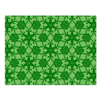 Antique lace - emerald and lime green postcard