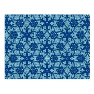 Antique lace - sapphire and pale blue postcard