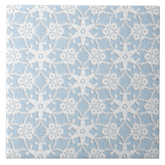 Antique lace - white and sky blue tile