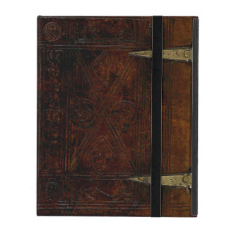 Antique Leather Bound Engraved Book Cover iPad Folio Case