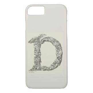 Antique Letter D Monogram Initial iPhone 8/7 Case