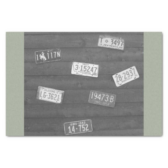 Antique License Plates BW Tissue Paper