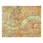 Antique London map River Thames old vintage Poster
