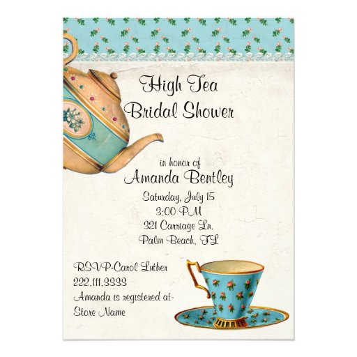 Antique Look Bridal Shower Tea Party Invitation