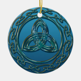 Antique Look Celtic Trinity Knot In Blue Green Round Ceramic Ornament