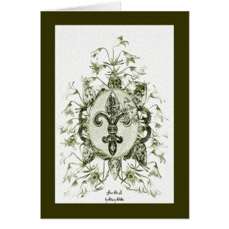 Antique look Fleur De Li Card