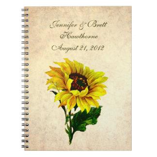 Antique Look Sunflower Wedding Guest Book Spiral Note Books