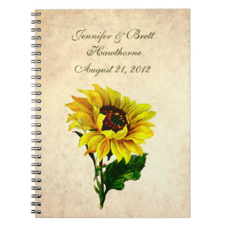 Antique Look Sunflower Wedding Guest Book Spiral Notebook