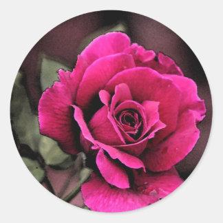 Antique Love Rose Round Sticker