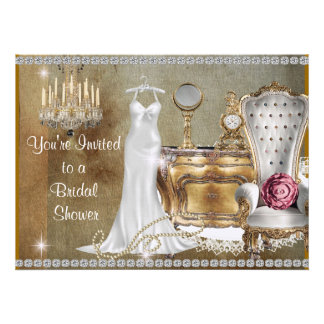 Antique LOVER BRIDAL SHOWER INVITATION FAUX Bling