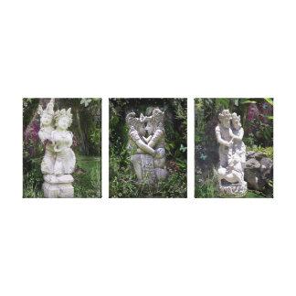 Antique Lovers Statues Trilogy Canvas Print