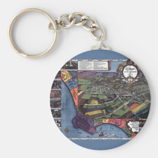 Antique Map, Aerial City of Los Angeles California Basic Round Button Keychain