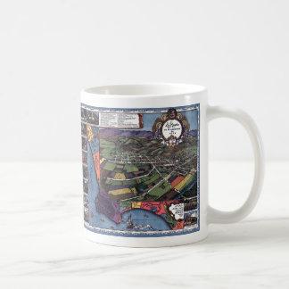 Antique Map, Aerial City of Los Angeles California Coffee Mug