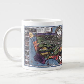 Antique Map, Aerial City of Los Angeles California Large Coffee Mug