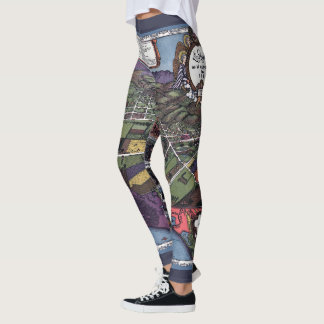 Antique Map, Aerial City of Los Angeles California Leggings