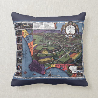 Antique Map, Aerial City of Los Angeles California Throw Pillow