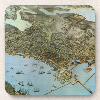 Antique Map Aerial View City of Seattle Washington Coaster