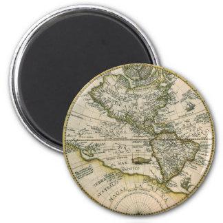 Antique Map, America Sive Novus Orbis, 1596 2 Inch Round Magnet
