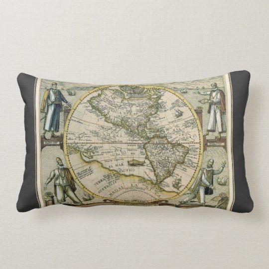 Antique Map, America Sive Novus Orbis, 1596 Lumbar Pillow