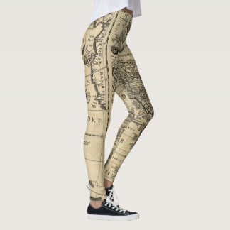 Antique Map Americas Leggings