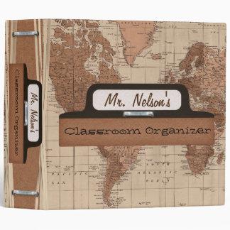 Antique Map Classroom Organizer Vinyl Binders