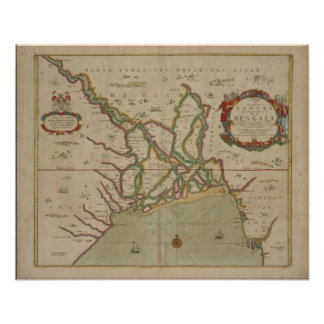 Antique Map Ganges River / India, Poster Print