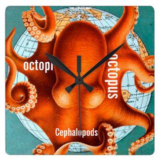 Antique Map Octopus Wall Clock