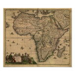Antique Map of Africa 1680 by Frederick De Wit Poster